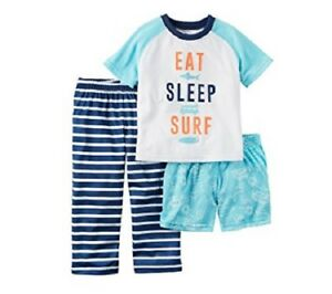 ef4b1d9a9e6a Carter s Eat Sleep Surf 3-Piece Sleepwear Set Pajamas Infant Baby ...