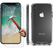 Case and 2PK Screen Protectors for iPhone XR X Xs Max 6 6S 7 8 Plus Cover Clear