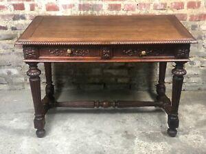 Bureau / table d'appoint Henri II en chêne sculpté