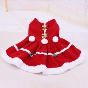 Pet-Dog-Winter-Warm-Christmas-Clothes-Costume-Red-Dress-Puppy-Fleece-Skirt-US