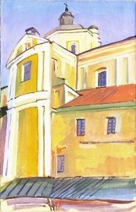 Russischer-Realist-Expressionist-Ol-Leinwand-034-Gelbe-Kirche-034-39x25-cm
