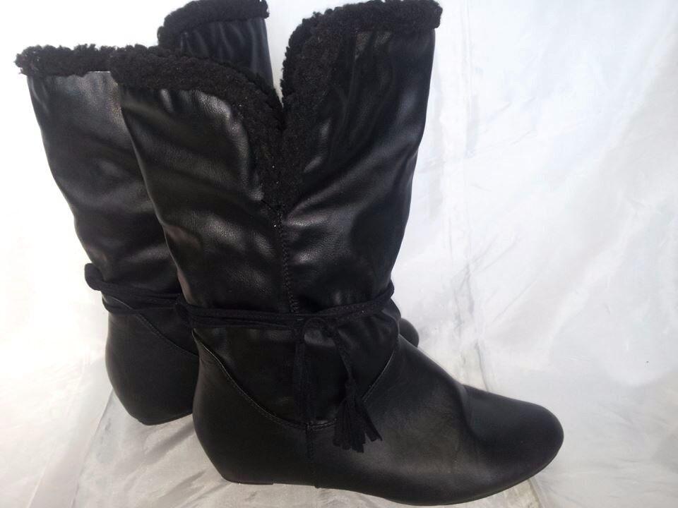 Stivali Donna alti Neri con pelo interno 40 Senza Tacco Woman's Boots Stiefel