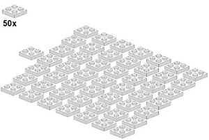Used-LEGO-Plates-White-3022-05-2x2-50Stk-Platte-Weiss