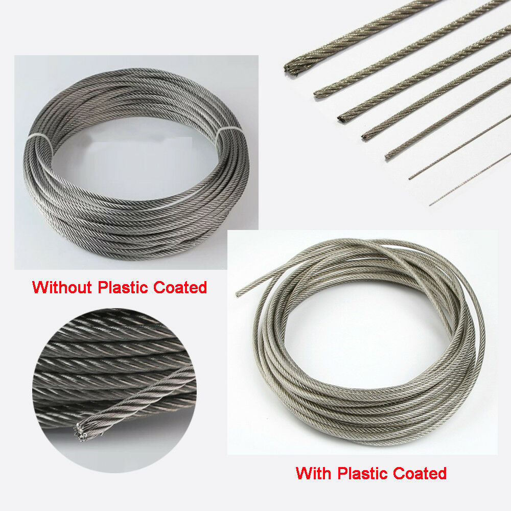 uxcell 5mm Dia Steel Clear PVC Coated Flexible Wire Rope Cable 5 Meter