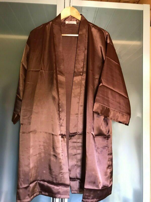Kimono Satinmantel Morgenmantel Braun L GroßE Vielfalt