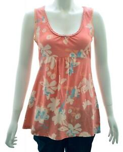 NEW-WHITE-STUFF-UK-6-8-CORAL-CREAM-FLORAL-JERSEY-VEST-TOP-TEE