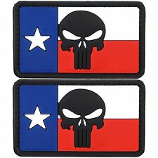 Texas Flag Punisher PVC Morale Patch 3D Tactical Badge Hook #27 2 Pack Air Soft
