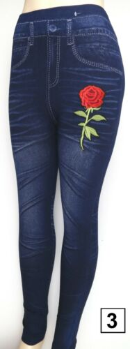Femmes Skinny Leggings Lady taille haute pantalon stretch denim imprimer IMITATION JEANS
