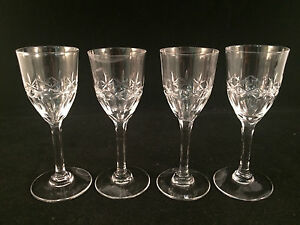 Lot-of-4-Etched-Apertif-Glasses-4-1-4-034-Tall