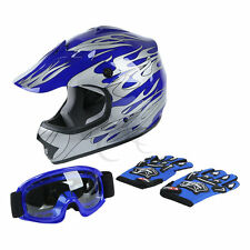 Youth Kids Blue Flame Dirt Bike ATV Motocross Off-Road Helmet + Goggles S M L XL