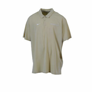 Nike Men's Big & Tall Short Sleeve Dri Fit Polo Beige White Size ...