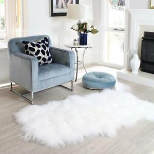 Image Is Loading Pure White Mongolian Sheepskin Area Floor Rug Real