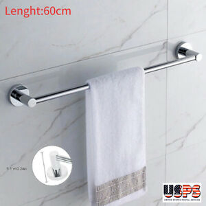Stainless Steel Towel Rack Bar Rail Wall Mounted Holder Bathroom Hotel 60cm