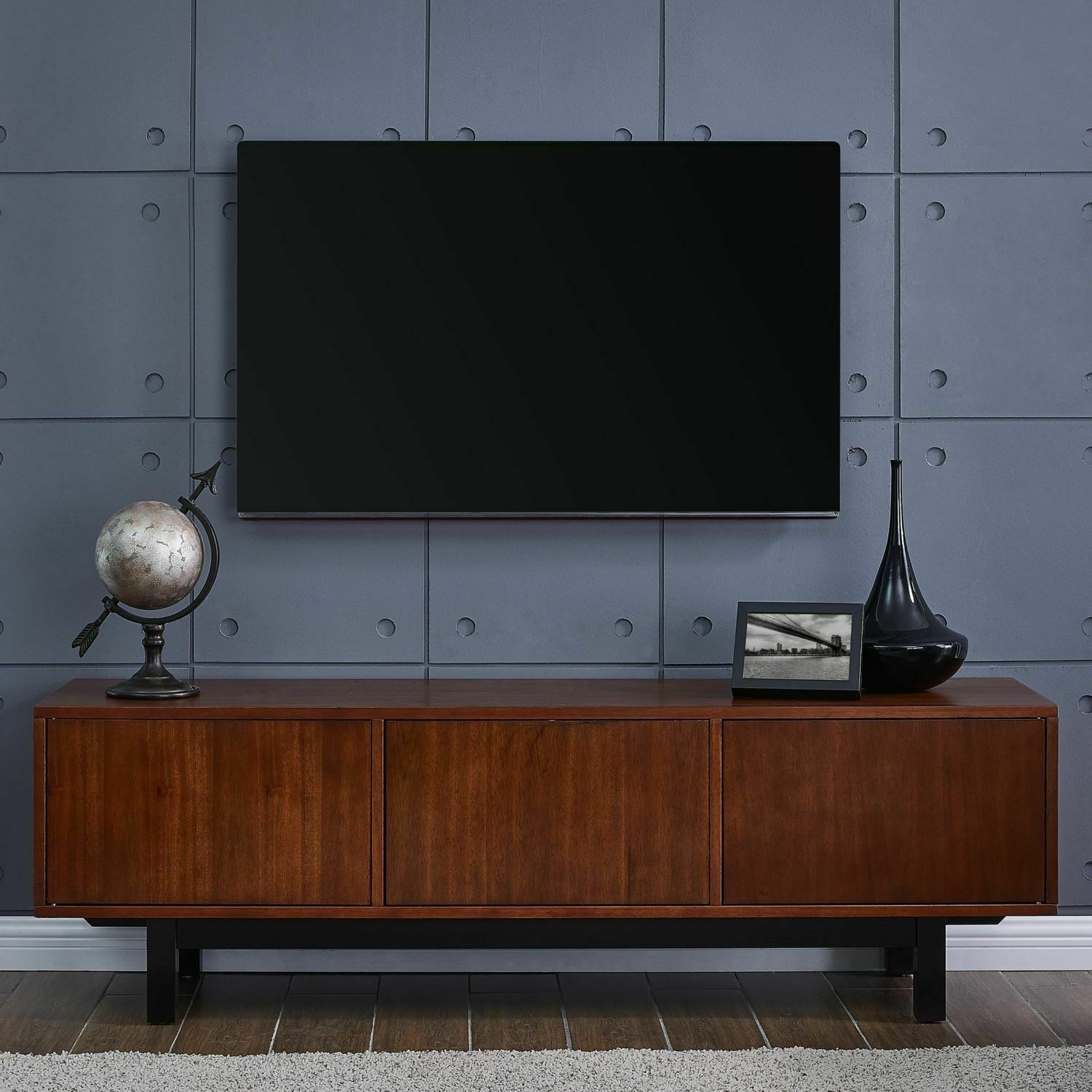 Mid Century Modern Entertainment Center Retro Media Console Tv Stand Brown Wood For Sale Online Ebay