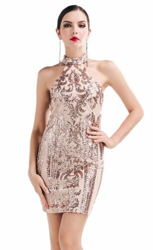 Zip Aperto Stampato Ricamato Dress Aderente Party S Pailette Abito Ballo Sequin pqX1x