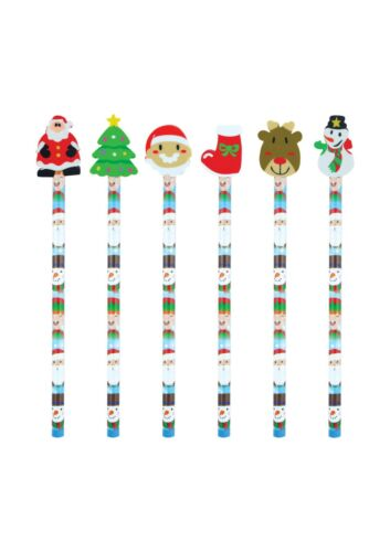 Xmas Christmas Pencil /& Eraser Kids Stocking Party Bag Filler 6