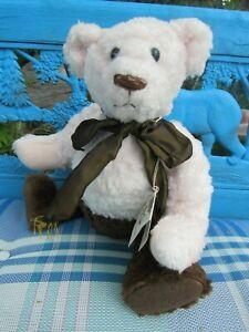 VINTAGE-RARE-16-034-OOAK-TEDDY-BEAR-NEAPOLITAN-PINK-WHITE-BROWN-ARTIST-SUGERLOAF-MT