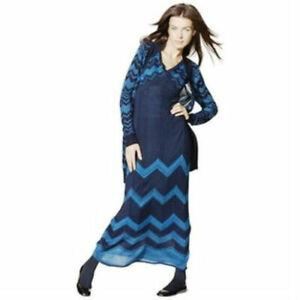 Missoni-Blue-Chevron-Knit-Maxi-Sweater-Dress-Women-039-s-X-Small-XS