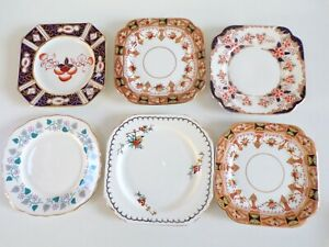 Vintage-MIS-MATCH-China-TEA-SIDE-Plates-WADE-ROYAL-VALE-ROSLYN-CHINA-LOT-of-6