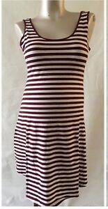 New-Look-Maternity-NEW-Striped-Burgundy-Summer-Sleeveless-Dress-10-12-14-16-18