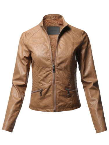 FashionOutfit Women/'s Casual Quilted Detail Fur Lining Faux leather Jacket