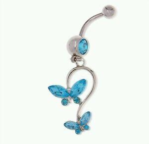 Blue-Rhinestone-Butterfly-Dangle-Belly-Bar-Piercing-Jewellery