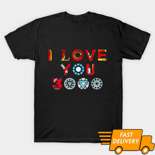 I Love You 3000 Arc Reactor Iron man Father's Day Black T-Shirt Size S-3XL
