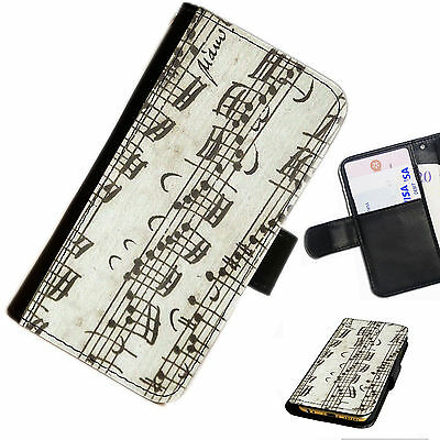 MUS19 MUSIC NOTES CHORDS PRINTED LEATHER WALLET/FLIP CASE COVER FOR MOBILE PHONE
