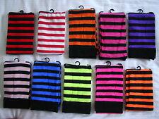 STRIPED OPAQUE Thigh High Stockings BLACK & PURPLE O/S