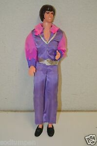 WOW-Great-Original-Vintage-1968-Mattel-Donny-Osmound-Doll-Purple-Outfit-RARE