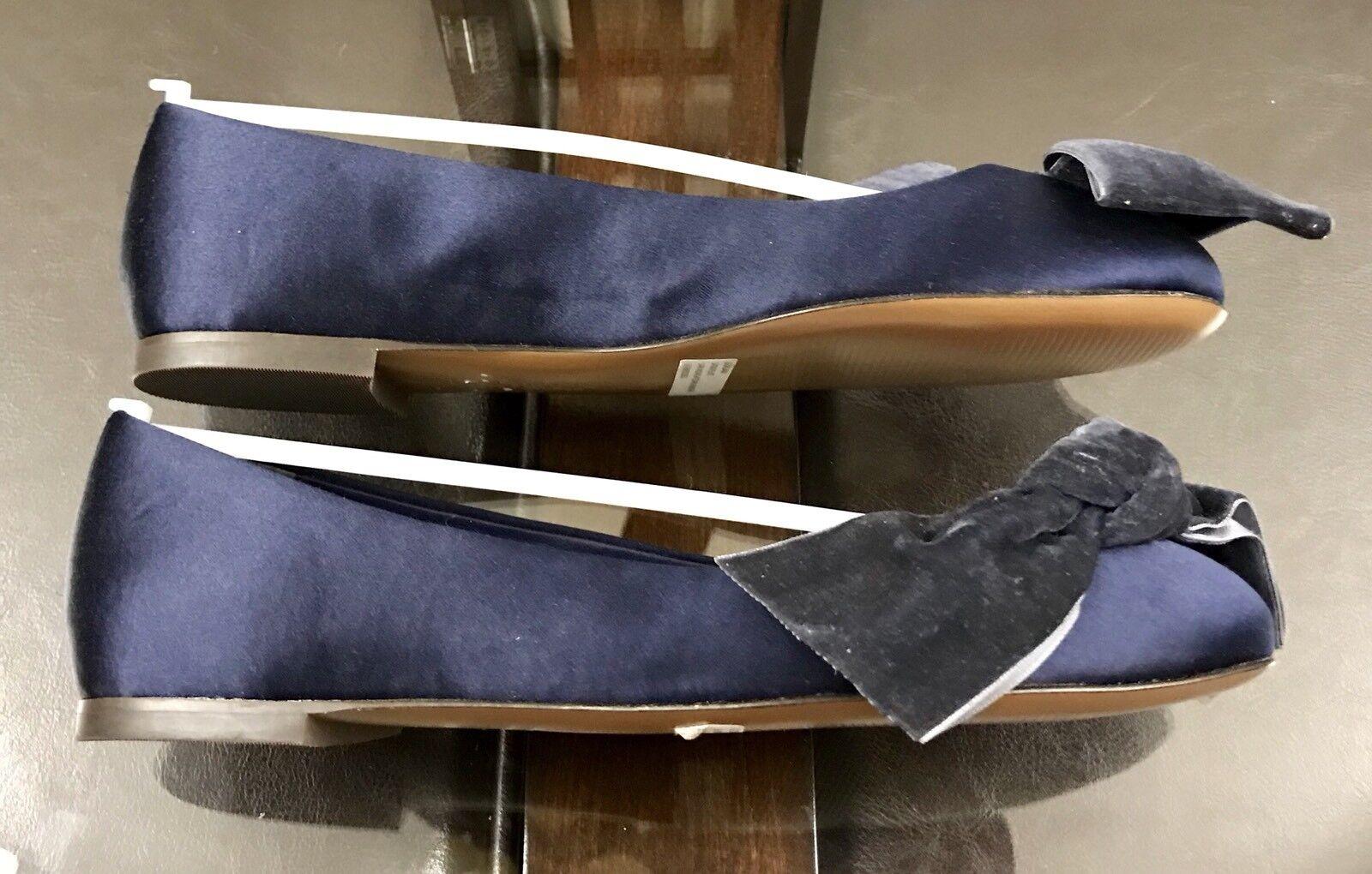 "Ralph Lauren Damenschuhe ""Georgiana"" Größe Satin Velvet Flats Schuhes Größe ""Georgiana"" 6.5B Midnight Blau f28a3b"