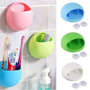Toothpaste-Storage-Rack-Wall-Mounted-Stand-Suction-Cup-Toothbrush-Holder