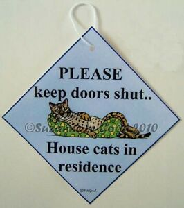 Bengal-cat-painting-art-sign-Keep-Door-Shut-laminated-sign-by-Suzanne-Le-Good