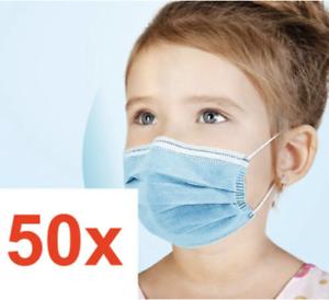50x Masken Kinder Mund-Nasen-Schutz 3-lagig Mundschutz Gesichtsmaske Rosa Blau