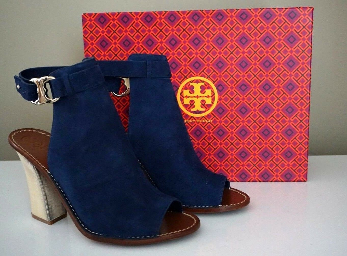 Tory Burch Gemini Link 110mm Open-Toe Navy Suede Sandal Booties Size 10.5