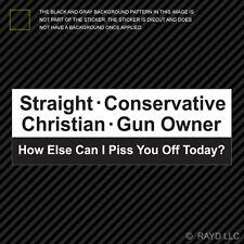 Straight Conservative Christian Gun Owner Sticker Self Adhesive Vinyl Bumper