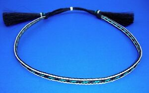 Western-Decor-Cowboy-HAT-BAND-3-Strand-Blk-Blue-Woven-Horsehair-With-2-Tassels