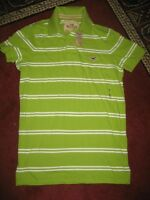 Hollister Pique Green/white-striped Polo Shirt...size Small