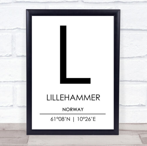 Lillehammer Norway Coordinates World City Travel Quote Wall Art Print