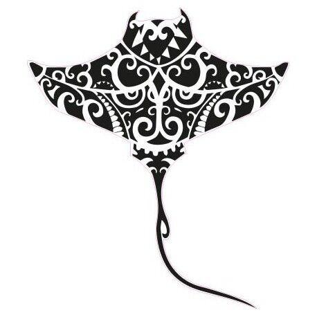 Raie Manta tiki sticker adhésif couleur lézard noir 4 cm