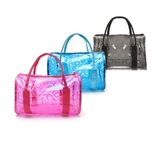 6fef534f2e19 Image is loading Women-Clear-Jelly-Waterproof-Swimming-Handbag-Transparent -Sea-