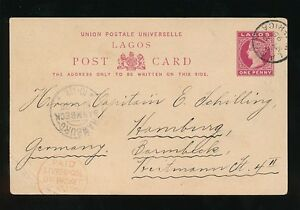 LAGOS QV POSTAL STATIONERY CARD to GERMANY MARITIME LIVERPOOL PACKET 1895 VFU