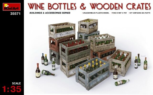 Wine Bottle & Wooden Crates Diorama Accessories 1:35 Plastic Model Kit MINIART