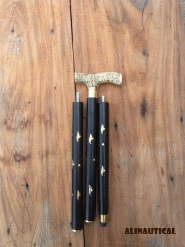 Designer Victorian Handle Walking Stick Black Wooden Brass Inlaid Cane Antique
