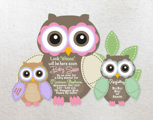 Image Is Loading Birthday Or Baby Shower Invitations Owl Personalized Custom
