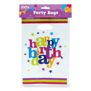 20-Party-Bags-Childrens-Happy-Birthday-Plastic-Loot-Gift-Bag-Boys-Girls-Filler
