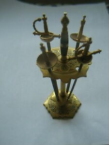 4-vintage-toledo-brass-shape-cocktail-sticks-with-stand
