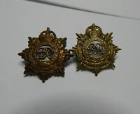 WW2 mismatched pair Royal Army Service Corp Collar badges  genuine issue