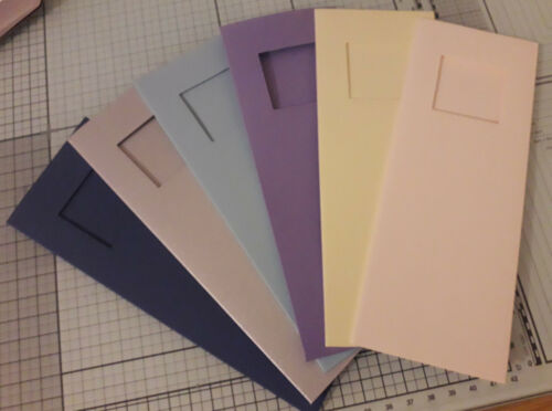 3 x Small tall 3 Panel blank cards with square aperture 35 x 35 mm /& envelope