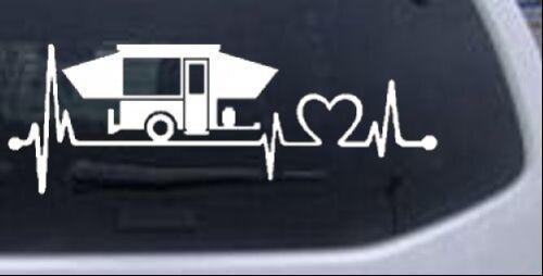 Pop Up Camper Heartbeat Lifeline Car Truck Window Laptop Decal Sticker 8X2.9